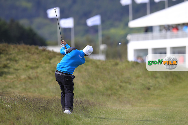 Mikko ILONEN (FIN) plays his 2nd shot on the 18th hole during Friday's Round 2 of the 2015 Dubai Duty Free Irish Open, Royal County Down Golf Club, Newcastle Co Down, Northern Ireland 5/29/2015<br />  Picture Eoin Clarke, www.golffile.ie