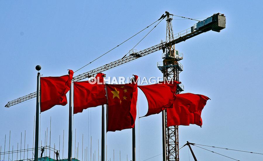 Guindastre de construção cívil na cidade de Pequim. China. 2007. Foto de Flávio Bacellar.