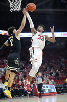 Arkansas guard Jimmy Whitt Jr. (33) scores Wednesday, Jan. 15, 2020, over Vanderbilt guard Scotty Pippen Jr. during the second half in Bud Walton Arena. Check out nwaonline.com/photos for a gallery from the game. (NWA Democrat-Gazette/Andy Shupe)