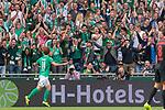 01.09.2019, wohninvest Weserstadion, Bremen, GER, 1.FBL, Werder Bremen vs FC Augsburg, <br /> <br /> DFL REGULATIONS PROHIBIT ANY USE OF PHOTOGRAPHS AS IMAGE SEQUENCES AND/OR QUASI-VIDEO.<br /> <br />  im Bild<br /> <br /> 2:1 Joshua Sargent (Werder Bremen #19 Davy Klaassen (Werder Bremen #30)<br /> <br /> jubel <br /> <br /> Foto © nordphoto / Kokenge