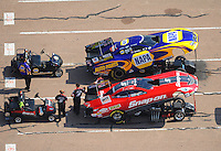 Apr. 28, 2012; Baytown, TX, USA: Aerial view of NHRA funny car driver Cruz Pedregon (bottom) and Ron Capps during qualifying for the Spring Nationals at Royal Purple Raceway. Mandatory Credit: Mark J. Rebilas-