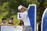 Haotong Li (CHN) on the 16th during the 1st round of the DP World Tour Championship, Jumeirah Golf Estates, Dubai, United Arab Emirates. 15/11/2018<br /> Picture: Golffile | Fran Caffrey<br /> <br /> <br /> All photo usage must carry mandatory copyright credit (&copy; Golffile | Fran Caffrey)