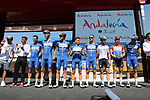 Deceuninck-Quick Step leading team at sign on before the start of Stage 5 of La Vuelta 2019 running 170.7km from L'Eliana to Observatorio Astrofisico de Javalambre, Spain. 28th August 2019.<br /> Picture: Luis Angel Gomez/Photogomezsport | Cyclefile<br /> <br /> All photos usage must carry mandatory copyright credit (© Cyclefile | Luis Angel Gomez/Photogomezsport)