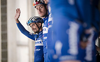 Julian ALAPHILIPPE (FRA/Deceuninck-Quick Step) greeting the crowd at the race start in Leuven<br /> <br /> 59th De Brabantse Pijl - La Flèche Brabançonne 2019 (1.HC)<br /> One day race from Leuven to Overijse (BEL/196km)<br /> <br /> ©kramon