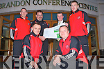 DEVELOPMENT LAUNCH: Chris Kerins and Tony Hynes MD of C.P.C.ie with players and coaching staff of Tralee Dynamos launching the new development plans for Tralee Dynamos and Kingdom Boys new soccer facility at Cahermoneen at the Brandon hotel on Friday front l-r: James Surgue and Joby Costello (Goalkeeping Coach). Jonathan Burrows, Chris Kerins, Tony Hynes and Brian Fitzgerald.