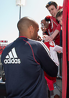 April 27, 2013: New York Red Bulls forward Thierry Henry #14 signs autographs during the warm-up in a game between Toronto FC and the New York Red Bulls at BMO Field  in Toronto, Ontario Canada..The New York Red Bulls won 2-1.