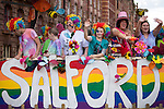 "© Joel Goodman - 07973 332324 . 23/08/2014 .  Manchester , UK . Salford . The parade through Manchester City Centre . Manchester Pride "" Big Weekend "" in Manchester "" today ( 23rd August 2014 ) . Photo credit : Joel Goodman"
