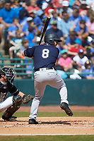 Mickey Gasper (8) of the Charleston RiverDogs at bat against the Hickory Crawdads at L.P. Frans Stadium on May 13, 2019 in Hickory, North Carolina. The Crawdads defeated the RiverDogs 7-5. (Brian Westerholt/Four Seam Images)