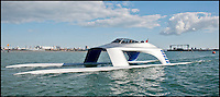 BNPS.co.uk (01202 558833)<br /> Pic: GliderYachts/BNPS<br /> <br /> This futuristic superyacht might look like something out of a James Bond film but it could be coming to a harbour near you very soon.<br /> <br /> These are the first official pictures of the new 60ft stylish Glider SS18, the first boat of its kind.<br /> <br /> It has been hailed a 'game-changer' in the yachting world and its creators say it will revolutionise sea travel for the rich and famous.<br /> <br /> At about &pound;1million a pop, top-of-the-range transport doesn't come cheap. But for those who can afford it the dramatic power cat offers the ultimate luxury and comfort.