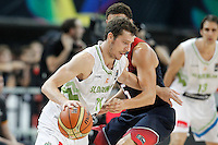 Slovenia's Goran Dragic (l) and USA's Klay Thompson during 2014 FIBA Basketball World Cup Quarter-Finals match.September 9,2014.(ALTERPHOTOS/Acero)