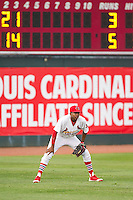 Johnson City Cardinals left fielder Anthony Ray (3) on defense against the Elizabethton Twins at Cardinal Park on July 27, 2014 in Johnson City, Tennessee.  The game was suspended in the top of the 5th inning with the Twins leading the Cardinals 7-6.  (Brian Westerholt/Four Seam Images)