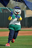 Cedar Rapids Kernels mascot, Mr. Shucks, prior to the game against the Clinton LumberKings at Veterans Memorial Stadium on April 16, 2016 in Cedar Rapids, Iowa.  Cedar Rapids won 7-0.  (Dennis Hubbard/Four Seam Images)
