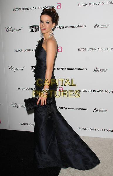 KATE BECKINSALE.17th Annual Elton John AIDS Foundation Academy Award Viewing Party held at the Pacific Design Center, West Hollywood, California, USA..February 22nd, 2009.oscars full length long black silk satin one shoulder dress clutch bag midnight  .CAP/ADM/KB.©Kevan Brooks/AdMedia/Capital Pictures.