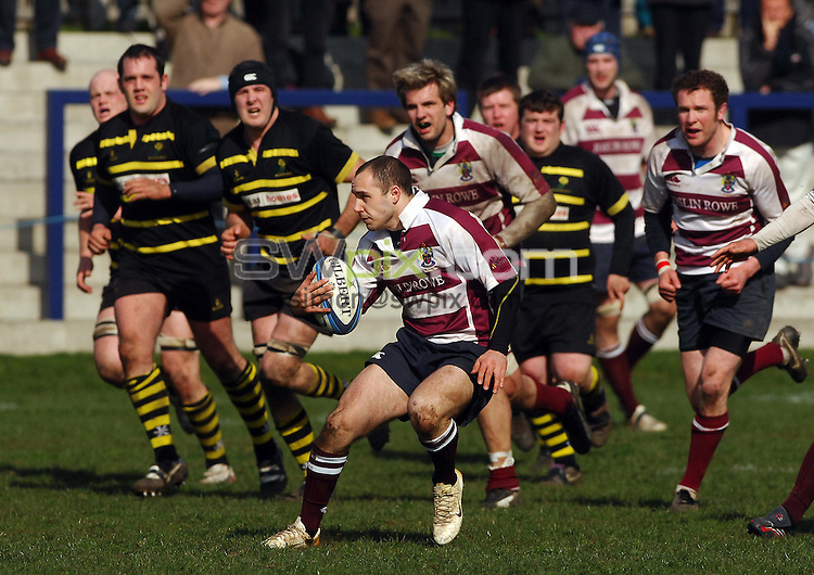 PICTURE BY JAREK BOGDANOWICZ/SWPIX.COM - Rugby Union - Scottish Hydro Electric National Cup Semi-Finals - Watsonian's v Melrose - Meggetland, Edinburgh, Scotland - 19/04/08...Copyright - Simon Wilkinson - 07811267706..Watsonians Ali Rowe.