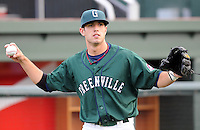 April 2, 2008: Outfielder David Marks (15) of the Greenville Drive, Class A affiliate of the Boston Red Sox, during Media Day at Fluor Field at the West End in Greenville, S.C. Photo by:  Tom Priddy/Four Seam Images