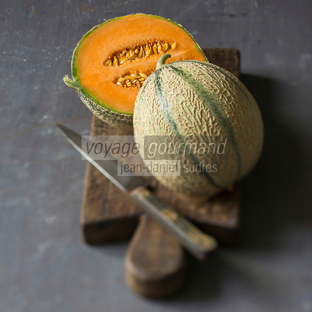 France, Provence-Alpes-C&ocirc;te d'Azur, Vaucluse, Luberon, Cavaillon: Melon brod&eacute; de Cavaillon  // France, Provence-Alpes-C&ocirc;te d'Azur, Vaucluse, Luberon, Cavaillon: Cavaillon melon <br /> - Stylisme : Val&eacute;rie LHOMME