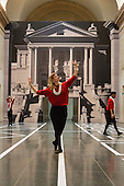 London, UK. 25 April 2016. L-R: Emilia Gasiorek, Rosalie Wahlfrid and Luke Crook. The Tate Britain Commission 2016 Pablo Bronstein: Historical Dances in an Antique Setting opens at the Duveen Galleries of Tate Britain on 26 April and runs until 9 October 2016. The commission features a continuous live performance by three dancers created by Pablo Bronstein. The annual Tate Britain Commission is supported by Sotheby's which invites artists to create a new large-scale work in response to the neo-classical Duveen Galleries at Tate Britain. Entrance is free.