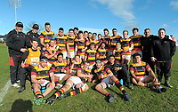 The Waikato team poses for a group photo after the Graham Mourie Cup premiership semifinal rugby match between Waikato and North Harbour in the Jock Hobbs Memorial Under-19 Rugby Tournament at Owen Delany Park in Taupo, New Zealand on Wednesday, 13 September 2012. Photo: Dave Lintott / lintottphoto.co.nz