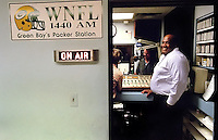 Former Green Bay Packers defensive end Willie Davis gives a live interview with WNFL radio in Green Bay regarding the Lombardi Legends charity organization.