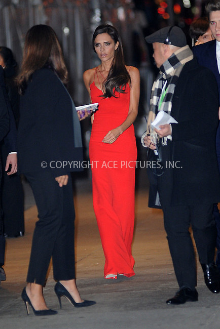 WWW.ACEPIXS.COM<br /> November 9, 2015 New York City<br /> <br /> Victoria Beckham is seen outside Carnegie Hall on November 9, 2015 in New York City.<br /> <br /> Credit: Kristin Callahan/ACE<br /> <br /> Tel: (646) 769 0430<br /> e-mail: info@acepixs.com<br /> web: http://www.acepixs.com