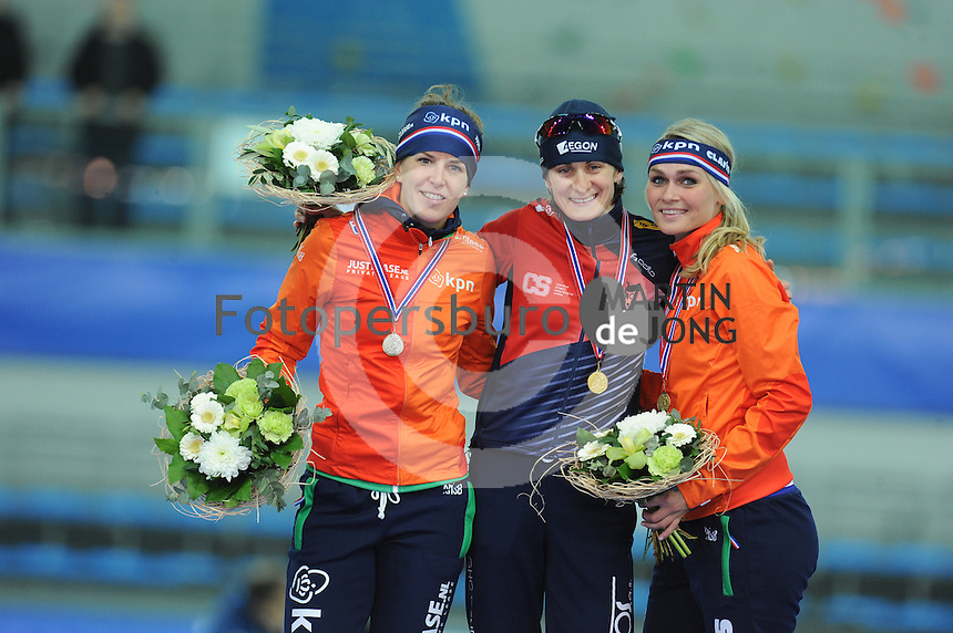 SPEED SKATING: STAVANGER: Sørmarka Arena, 31-01-2016, ISU World Cup, Podium 3000m Ladies Division A, Ireen Wüst (NED), Martina Sábliková (CZE), Irene Schouten (NED), ©photo Martin de Jong