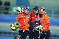 SPEED SKATING: STAVANGER: Sørmarka Arena, 31-01-2016, ISU World Cup, Podium 3000m Ladies Division A, Ireen Wüst (NED), Martina Sábliková (CZE), Irene Schouten (NED), ©photo Martin de Jong