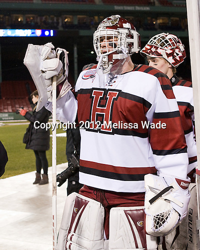 Steve Michalek (Harvard - 34), Connor Riley (Harvard - 1) - The Union College Dutchmen defeated the Harvard University Crimson 2-0 on Friday, January 13, 2012, at Fenway Park in Boston, Massachusetts.