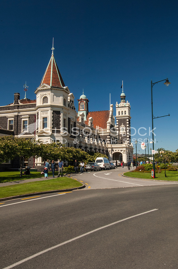 Entrance to the historic Dunedin Railway Station, Otago, South Island, New Zealand - stock photo, canvas, fine art print