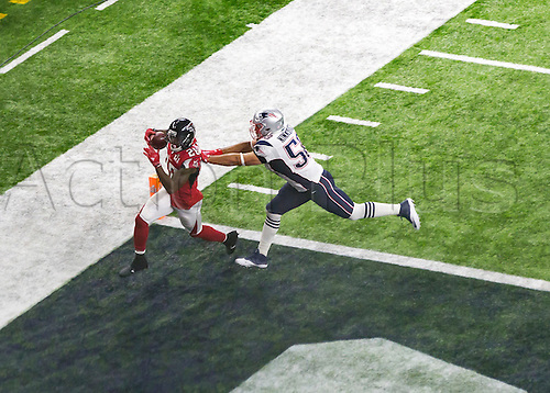 February 5th 2017, Houston, Texas, USA;   New England Patriots outside linebacker Rob Ninkovich (50) can't stop Atlanta Falcons running back Tevin Coleman (26) from scoring a touchdown in the third quarter during the New England Patriots 34-28 victory over the Atlanta Falcons