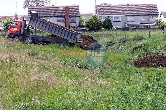 One of Pat Fallon lorries delevering top soil to help clean up Rathmullen Park...Picture Fran Caffrey Newsfile.