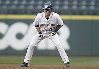 03 April 2009:  Washington's #44 Brett Wilcox takes a lead at first base against Arizona State at Safeco Field in Seattle, WA.  Arizona State won 3-1 over Washington.