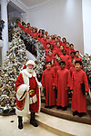 Santa with the Houston Children's Chorus performs at the M.D. Anderson Santa's Elves party Thursday Dec. 07,2017. (Dave Rossman Photo)