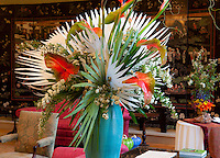 Filoli flower show, floral arrangement with bleached palm fronds in estate home