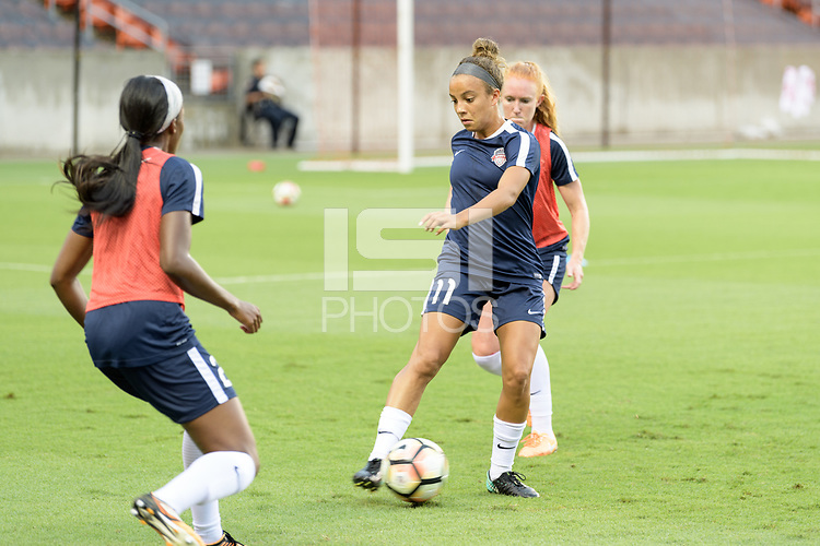 Houston, TX - Saturday July 15, 2017: Mallory Pugh warming up during a regular season National Women's Soccer League (NWSL) match between the Houston Dash and the Washington Spirit at BBVA Compass Stadium.