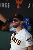 SAN FRANCISCO, CA - SEPTEMBER 28:  Evan Longoria #10 of the San Francisco Giants sits in the dugout before the game against the Los Angeles Dodgers at Oracle Park on Saturday, September 28, 2019 in San Francisco, California. (Photo by Brad Mangin)