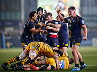 25th January 2020; Sixways Stadium, Worcester, Worcestershire, England; Premiership Rugby, Worcester Warriors versus Wasps; Worcester Warriors players congratulate Sam Lewis for earning a penalty