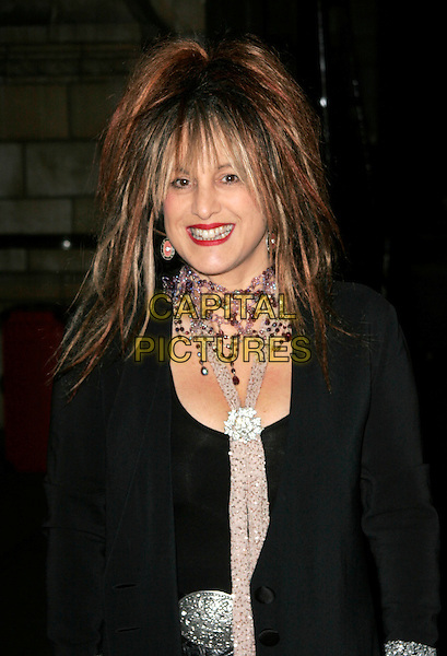 ELIZABETH EMANUEL .Attends the Save the Children Festival of Trees at the Natural History Museum,  London, England, USA, .December 9th 2008..half length hair straight necklace choker black coat jacket purple scarf red lipstick .CAP/AH.©Adam Houghton/Capital Pictures
