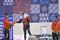 SPEED SKATING: SALT LAKE CITY: 21-11-2015, Utah Olympic Oval, ISU World Cup, Podium 10.000m Men, Sven Kramer (NED) Ted-Jan Bloemen (CAN), Jorrit Bergsma (NED), ©foto Martin de Jong