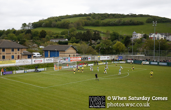 Aberystwyth Town 1 Newtown 2, 17/05/2015. Park Avenue, Europa League Play Off final. Newtown on the attack. Aberystwyth finished 14 points above Newtown in the Welsh Premier League, but were beaten 1-2 in the Play Off Final. Photo by Paul Thompson.
