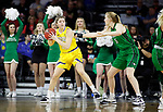 SIOUX FALLS, SD - MARCH 7: Paiton Burckhard #33 of the South Dakota State Jackrabbits looks to pass the ball around Melissa Leet #5 of the North Dakota Fighting Hawks at the 2020 Summit League Basketball Championship in Sioux Falls, SD. (Photo by Richard Carlson/Inertia)