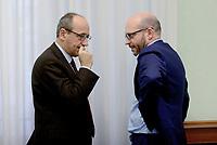 Roma,13 Novembre 2019<br /> Alberto Bagnai, Lorenzo Fontana.<br /> Matteo Salvini in Conferenza stampa sulla manovra economica alla Sala Salvadori