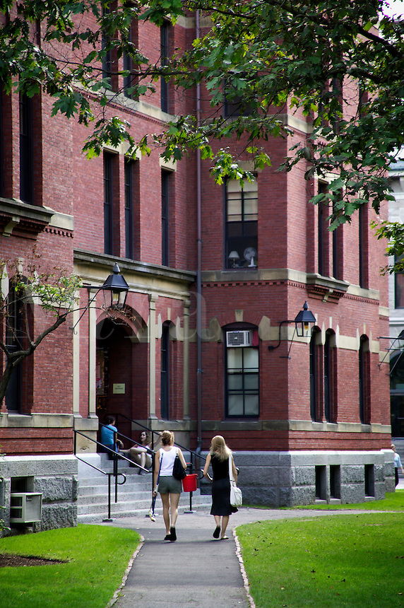 Students walking past residence hall in Harvard Yard, Harvard University, Cambridge, M