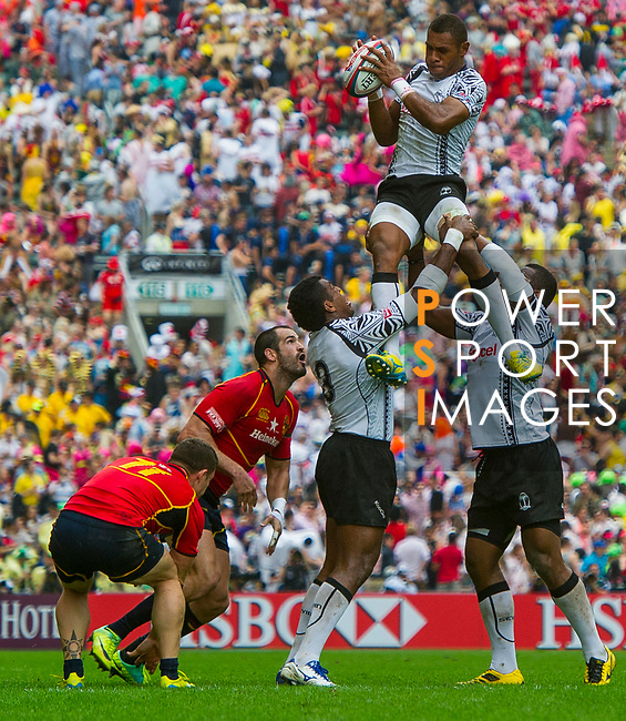 Fiji play Spain on Day 2 of the Cathay Pacific / HSBC Hong Kong Sevens 2013 on 23 March 2013 at Hong Kong Stadium, Hong Kong. Photo by Manuel Queimadelos / The Power of Sport Images
