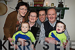 Twins Cormac and Fionan O'Sullivan, Beaufort pictured with their parents Josie and Padraig and grandparents Noreen and Neil O'Sullivan at the Beaufort Rambling House in the community centre on Saturday night.