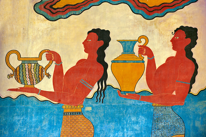 Arthur Evans reconstruction of Procession  Frescos of the  South Propylaeum of Knossos Minoan archaeological site, Crete