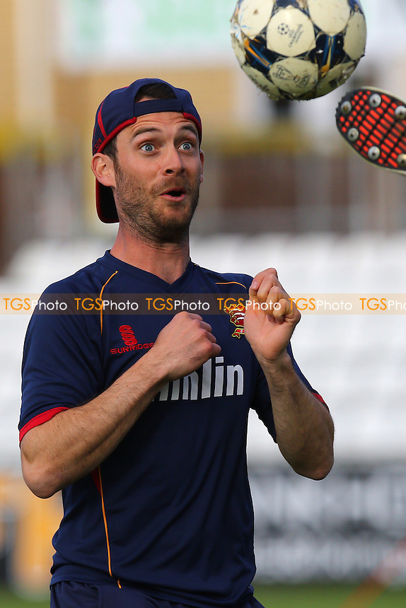 James Foster of Essex warms up with a football ahead of the start - Essex Eagles vs Essex Premier Leagues XI - T20 Cricket Friendly Match at the Essex County Ground, Chelmsford, Essex - 13/05/15 - MANDATORY CREDIT: Gavin Ellis/TGSPHOTO - Self billing applies where appropriate - contact@tgsphoto.co.uk - NO UNPAID USE