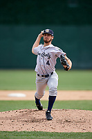 Kane County Cougars relief pitcher Riley Smith (4) delivers a pitch during a game against the South Bend Cubs on May 3, 2017 at Four Winds Field in South Bend, Indiana.  South Bend defeated Kane County 6-2.  (Mike Janes/Four Seam Images)