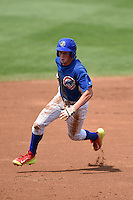 Bryce Denton (27) of Ravenwood High School in Brentwood, Tennessee playing for the Chicago Cubs scout team during the East Coast Pro Showcase on August 1, 2014 at NBT Bank Stadium in Syracuse, New York.  (Mike Janes/Four Seam Images)