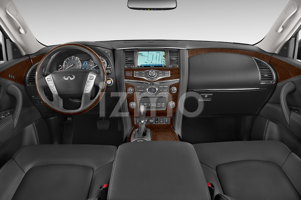 Stock photo of straight dashboard view of a 2015 Infiniti QX80 3.5 5 Door SUV Dashboard