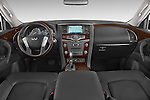 Stock photo of straight dashboard view of a 2017 Infiniti QX80 3.5 5 Door SUV Dashboard